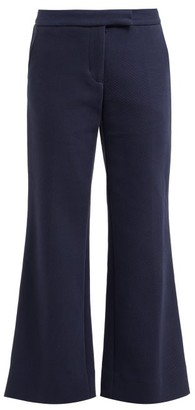 Marina Moscone - Kick-flare Wool-blend Twill Trousers - Womens - Navy