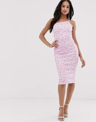 Asos Design DESIGN spot print asymmetric neck midi dress-Pink