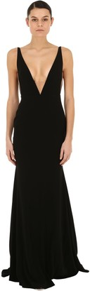 Alex Perry Deep V Neck Crepe & Satin Long Dress