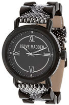Steve Madden Pyramid Leather Strap Watch