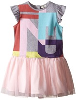 Fendi Short Sleeve Dress w/ Graphic Logo Tulle Skirt Girl's Dress