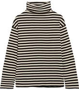 Sjyp Embroidered Striped Cotton-blend Turtleneck Top - Black