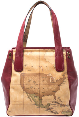 Alviero Martini Red Leather and Coated Canvas Tote