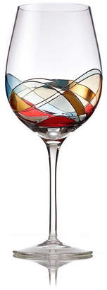 Bezrat Jumbo Wine Glasses with Hand Painted Design, Set of 2