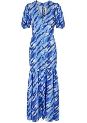 Rotate by Birger Christensen Thora blue printed maxi dress