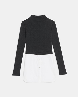 Theory Long-Sleeve Combo Tunic in Ribbed Knit