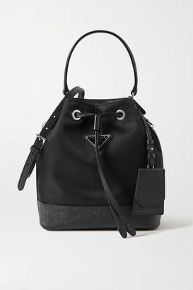 Prada Tessuto Textured Leather-trimmed Nylon Bucket Bag - Black