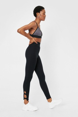Nasty Gal Womens Cut-Out Recycled Fitted Leggings - Black