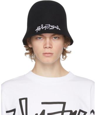 Palm Angels Black Felted Logo Bucket Hat