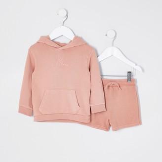 River Island Mini boys Pink washed hoody set