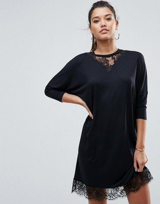 Asos Design Oversize T-Shirt Dress with Batwing Sleeve and Lace Inserts-Black