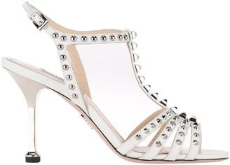 Prada Studded T-Bar Strap Sandals