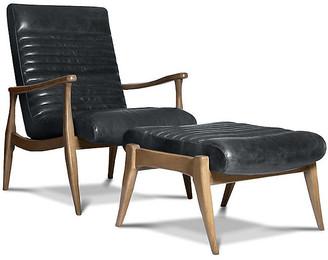 One Kings Lane Erik Accent Chair & Ottoman Set - Charcoal