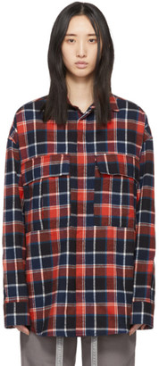 Fear Of God Red and Navy Plaid Flannel Shirt