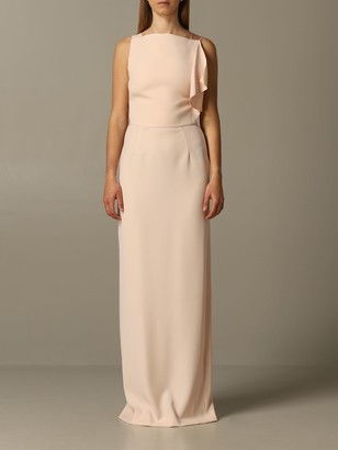 Emporio Armani Long Dress With Satin And Cady Bow