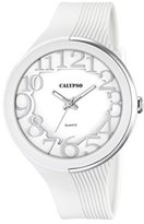 Calypso Women's Quartz Watch with White Dial Analogue Display and White Plastic Strap K5706/1