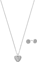Michael Kors Heart Pendant Necklace and Round Stud Earrings Jewellery Gift Set, Silver