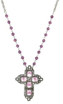 2028 Women's Pewter Rectangle Amethyst Color Crystal Cross Beaded Necklace