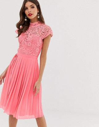Chi Chi London lace midi dress with pleated skirt in coral-Pink