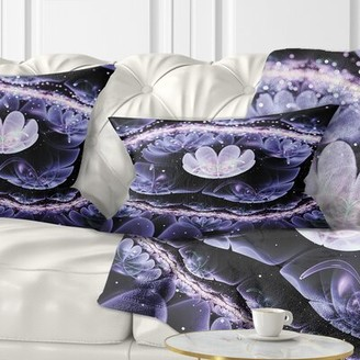 East Urban Home Floral Shiny Fractal Flower with Bokeh Effect Lumbar Pillow