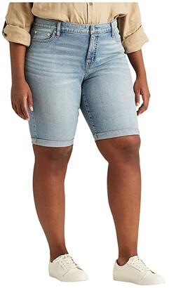 Lauren Ralph Lauren Plus Size Stretch Cotton Blend Shorts (Light Indigo Wash) Women's Shorts