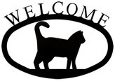 S.t.a.m.p.s. Village Wrought Iron WEL-6-S Small Welcome Sign-Plaque - Cat