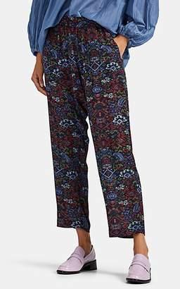 Raquel Allegra Women's Sunday Tapestry-Print Silk Pants - Black