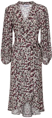 Ganni Floral crepe wrap dress