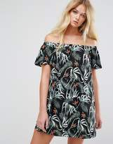 MANGO Tropical Print Bardot Dress