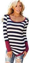 SoForYou SFY Fashion Women Irregular Striped Slim O-Neck Patchwork T-Shirt Tops Blouse