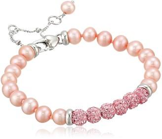 Honora Girls' Sterling Silver Rose Freshwater Cultured Pearl Bracelet