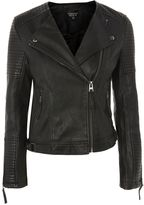 Topshop Quilted Faux Leather Biker Jacket