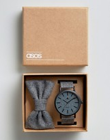 Asos Watch and Bowtie Gift Set in Charcoal