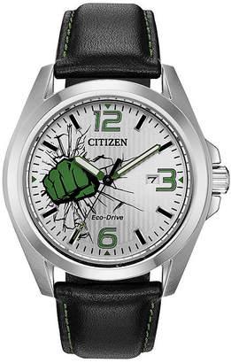 Citizen Marvel Hulk Mens Black Leather Strap Watch-Aw1431-24w