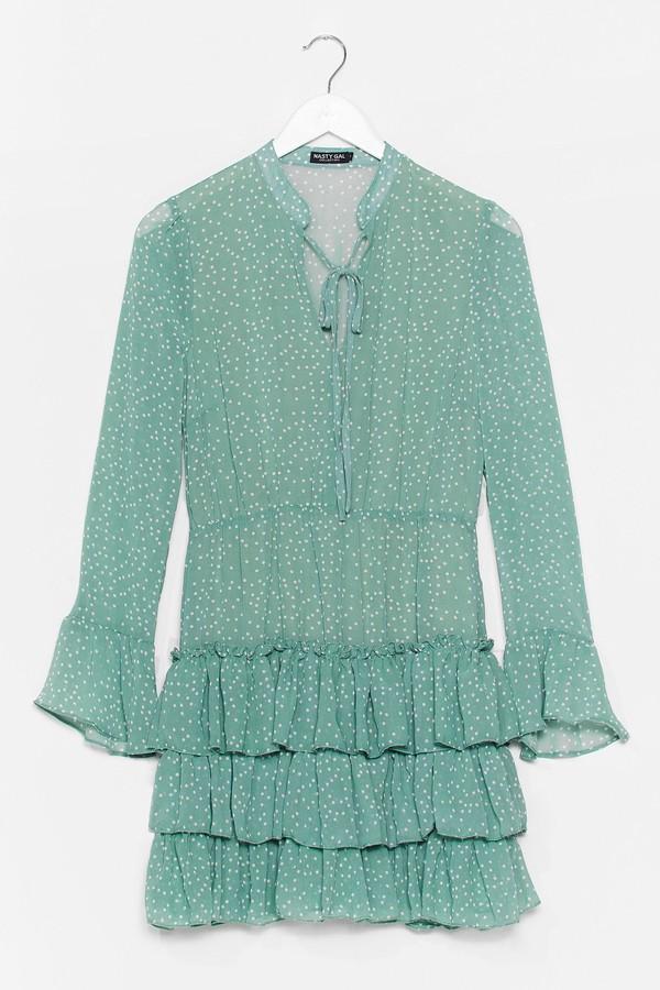 Nasty Gal Womens Polka Dot Tiered Ruffle Flowy Dress - Green - S