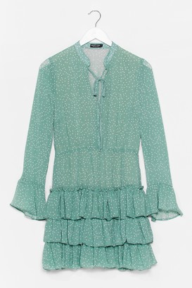 Nasty Gal Womens There's Frill Time Spotty Mini Dress - Green - S