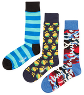 Happy Socks Stripes, Lemon & Camouflage Socks (3 PK)