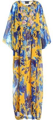 Sachin + Babi Embellished Printed Chiffon Maxi Dress