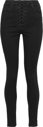 J Brand + Steph Shep Lace-up High-rise Skinny Jeans
