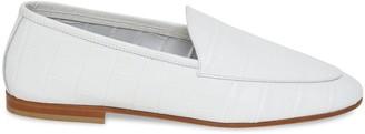 Mansur Gavriel Croc Embossed Sock Loafer - White