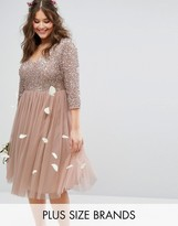 Lovedrobe Luxe 3/4 Sleeve V Neck Midi Dress With Delicate Sequin And Tulle Skirt