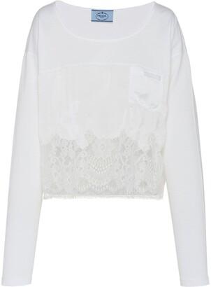 Prada lace-panel jersey T-shirt