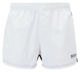 Quick-dry color-block swim shorts with elastic waistband
