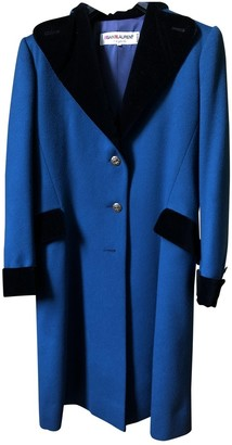 Saint Laurent Blue Wool Coat for Women Vintage