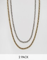 Designb London Designb Chain Necklaces In 2 Pack Exclusive To Asos