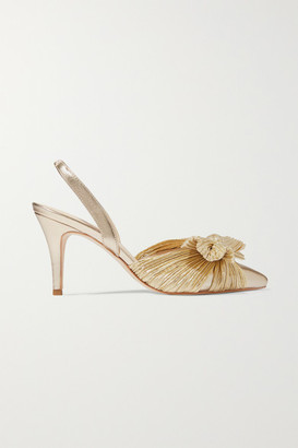 Loeffler Randall Sylvanna Bow-detailed Plissé-lamé And Leather Slingback Pumps - Gold