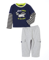 Buster Brown Medieval Blue 'Little Bandit' Tee & Gray Pants - Infant