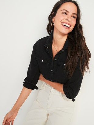 Old Navy Relaxed Western Black Jean Shirt for Women