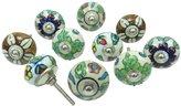 Ibacrafts Multicolor Kitchen Knobs Indian Unique Cabinet Ceramic Drawer Pull Knob 5 Pair
