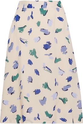 Iris & Ink Dahlia Flared Printed Crepe De Chine Skirt
